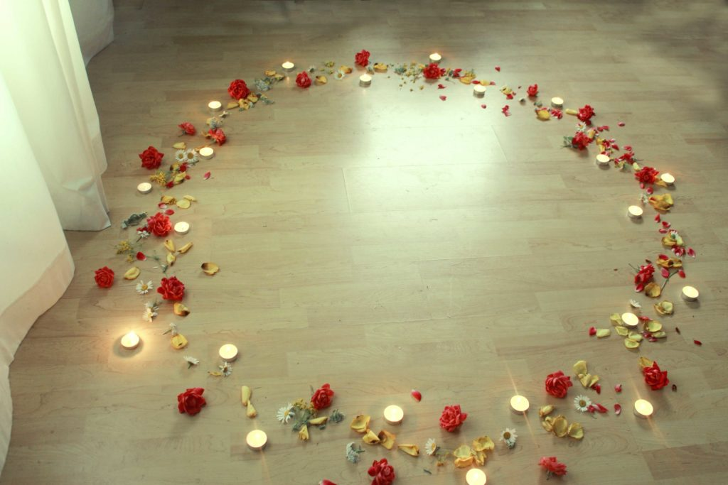 wiccan circle casting with flowers