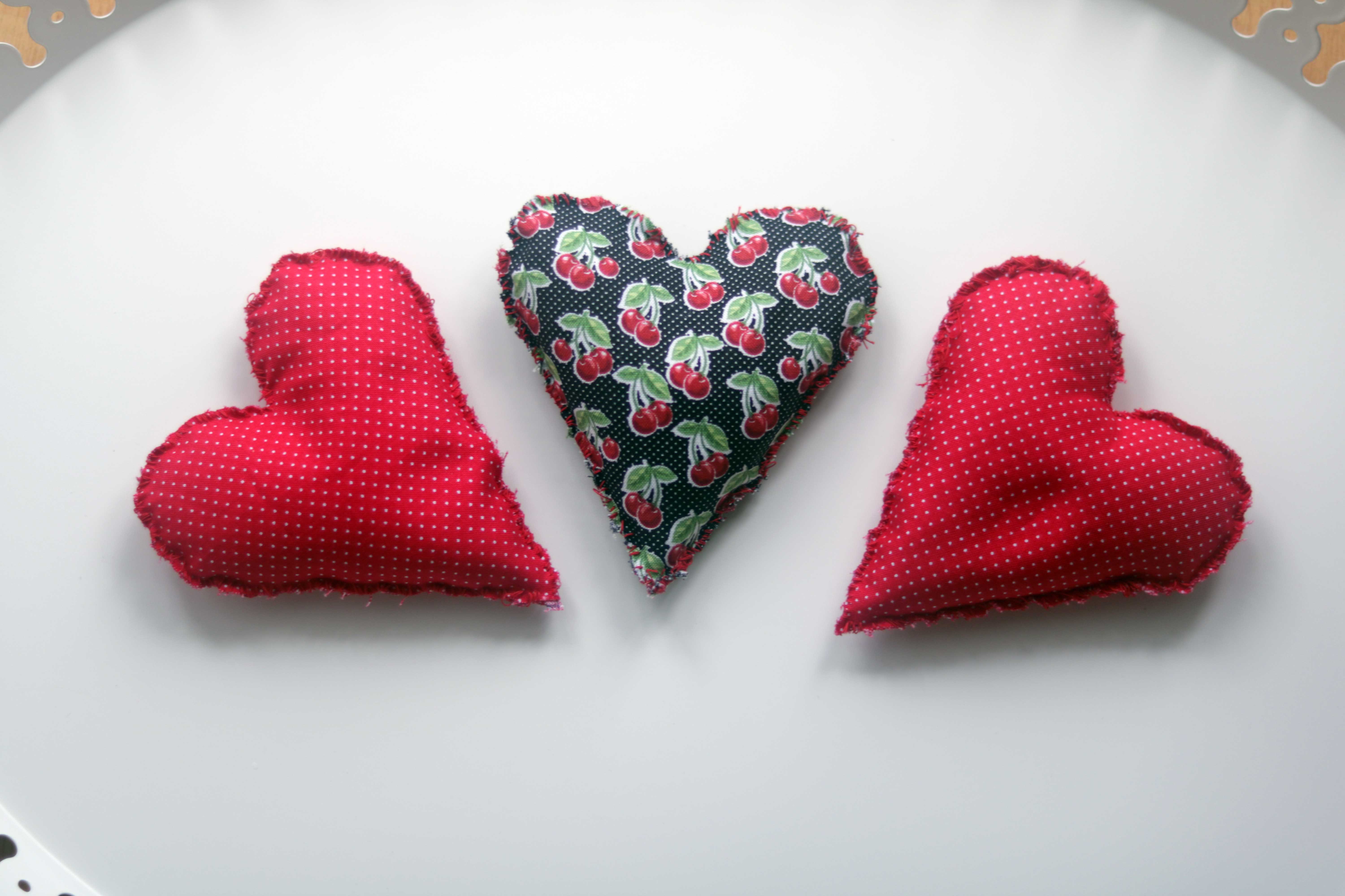 Heart shaped mojo bags and spell sachets.