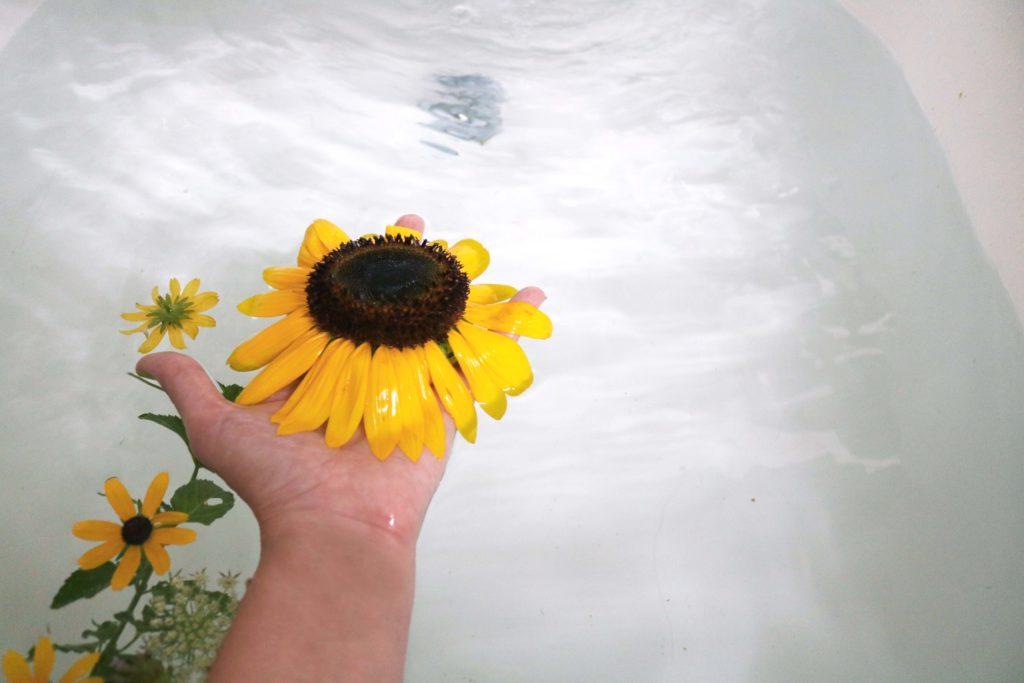Citrus, champagne and sunflower bath ritual to banish depression or celebrate Lammas.