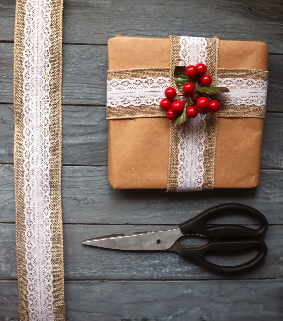 Upcycle old paper grocery bags by turning them inside out to get the classic look of brown wrapping paper.