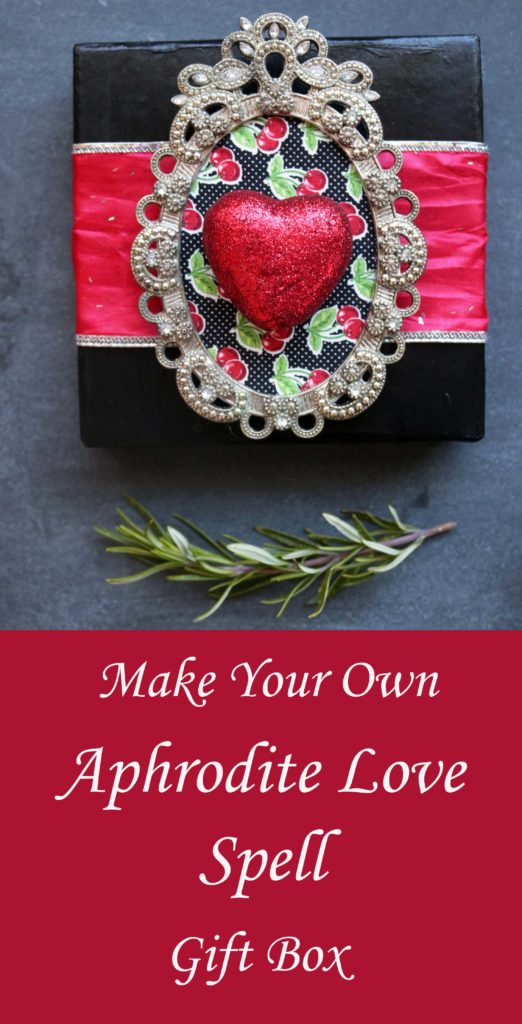 DIY Aphrodite love spell gift box. Honor the Greek goddess of love by giving a handmade love spell box to a friend or lover. This tutorial offers inspiration for upcycling what you already have to create an original, artful spell box.