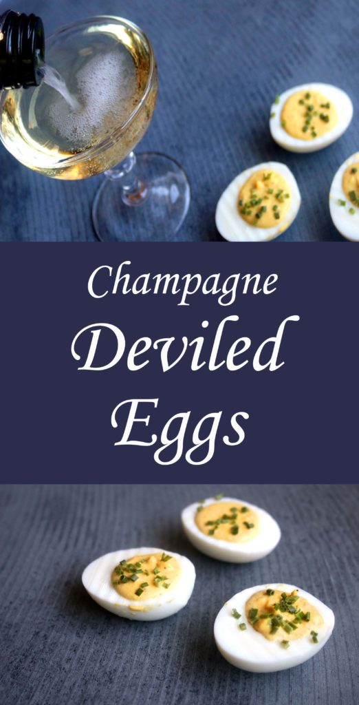 Instagram-worthy champagne deviled eggs.