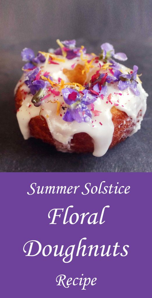 How to make floral doughnuts for your Litha, summer solstice or Midsummer's Eve celebration. A cute recipe idea for the kitchen witch or green witch! Really nice way to use edible garden or wildflowers.