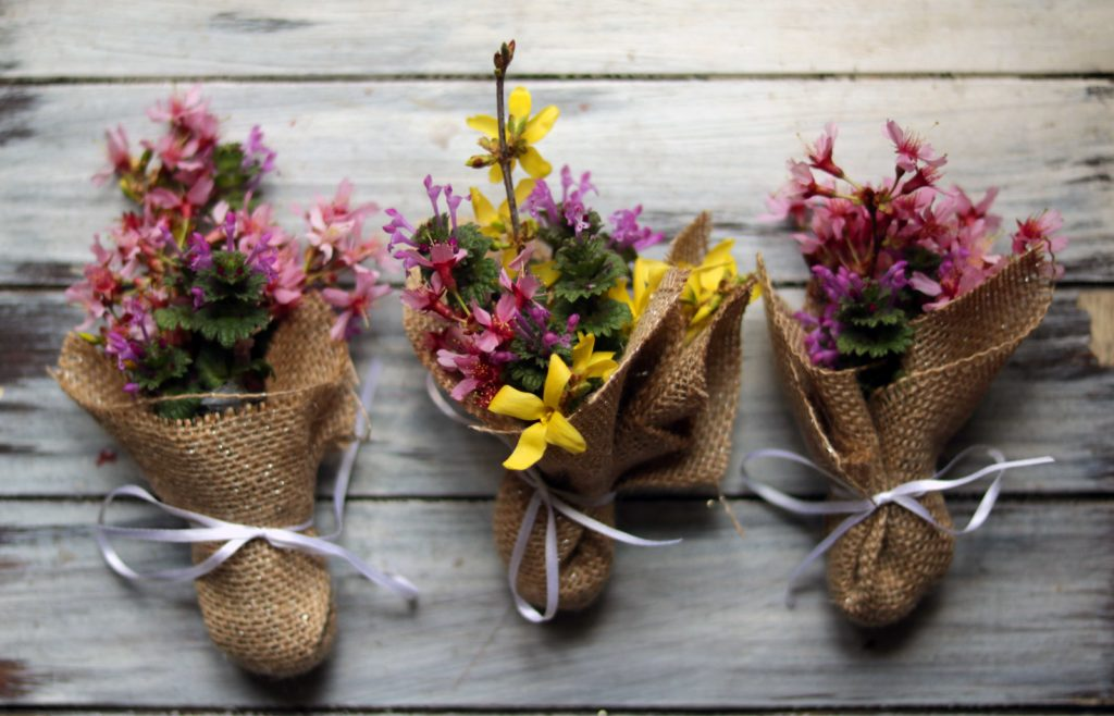Three little mini wildflower bouquets. Would make lovely party favors for an Ostara ritual or spring handfasting or pagan wedding.