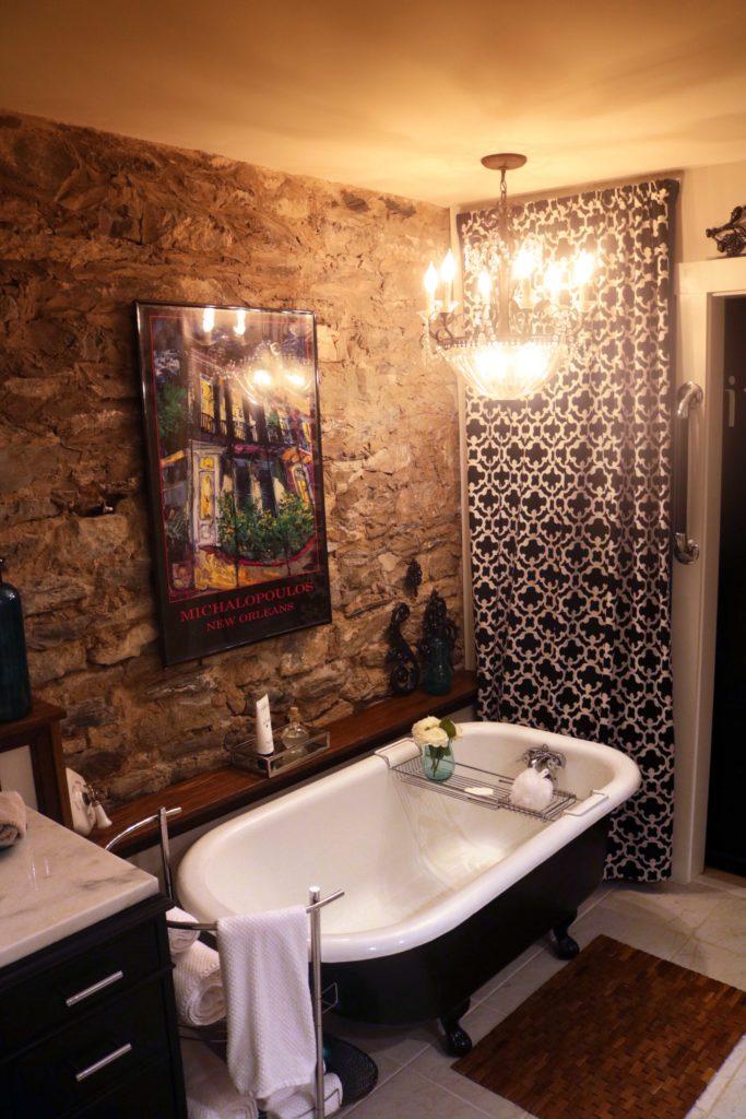Studebaker Suite elegant spa bathroom at bed and breakfast, Rockhaven, in Harpers Ferry, West Virginia.