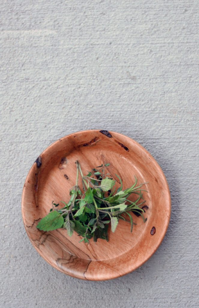 Natural wood offering bowl for the altar.