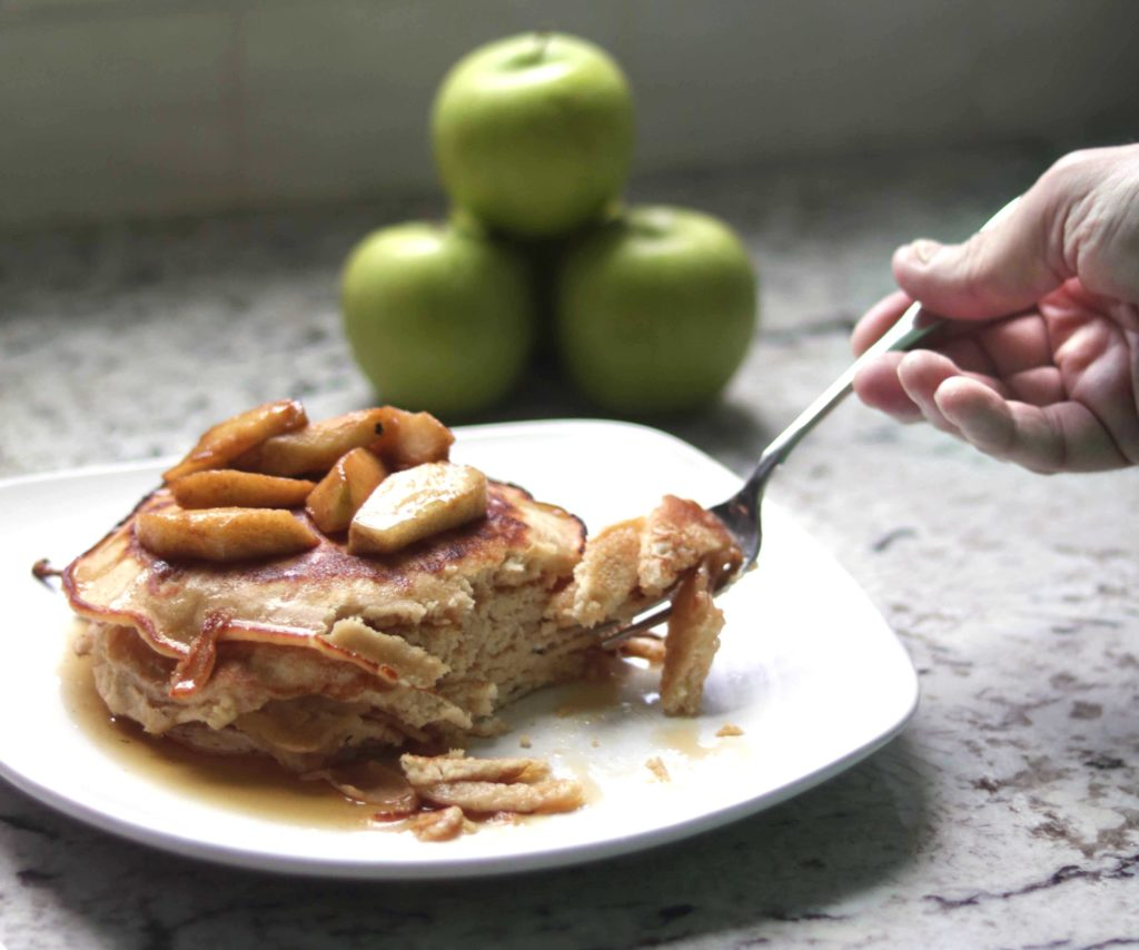 Gingerbread pancakes with fried apples and warm maple syrup for the Fall Equinox. You will not stop at one bite.
