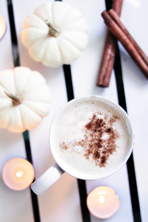 White pumpkin cinderella latte recipe with coconut whipped cream.