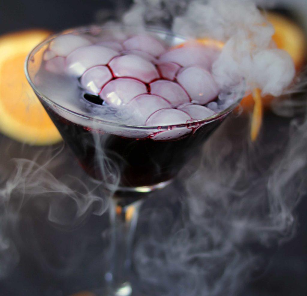 Samhain black magic martini. Perfect for a pagan dumb supper, Halloween or Samhain party.