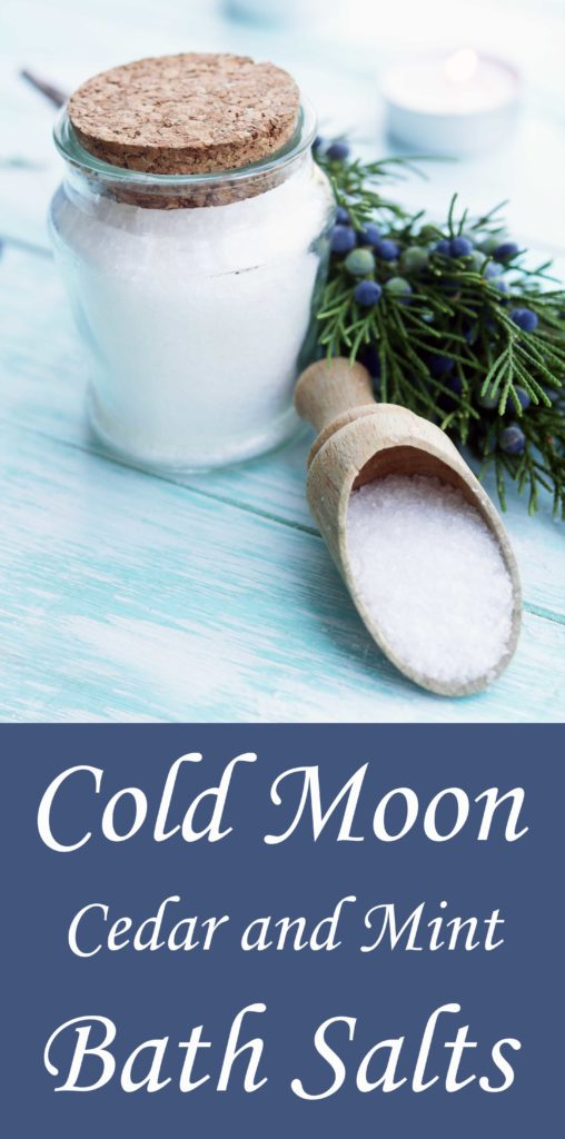 Cold moon ritual bath salts. Make a batch this coming Cold Moon and store them for Winter Esbats, or to give away at Yule.
