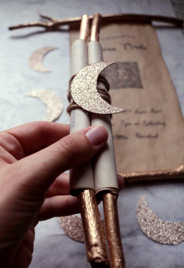 Esbat or Moon Circle DIY Spell Scroll Invitations