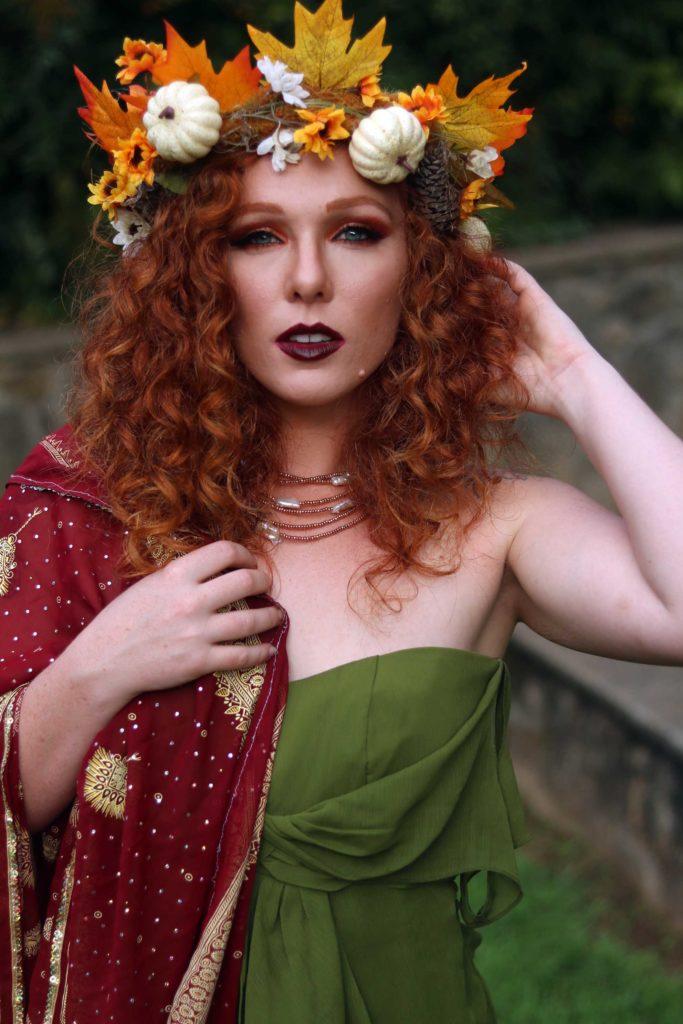 Make an autumn hair wreath to celebrate the Fall Equinox.