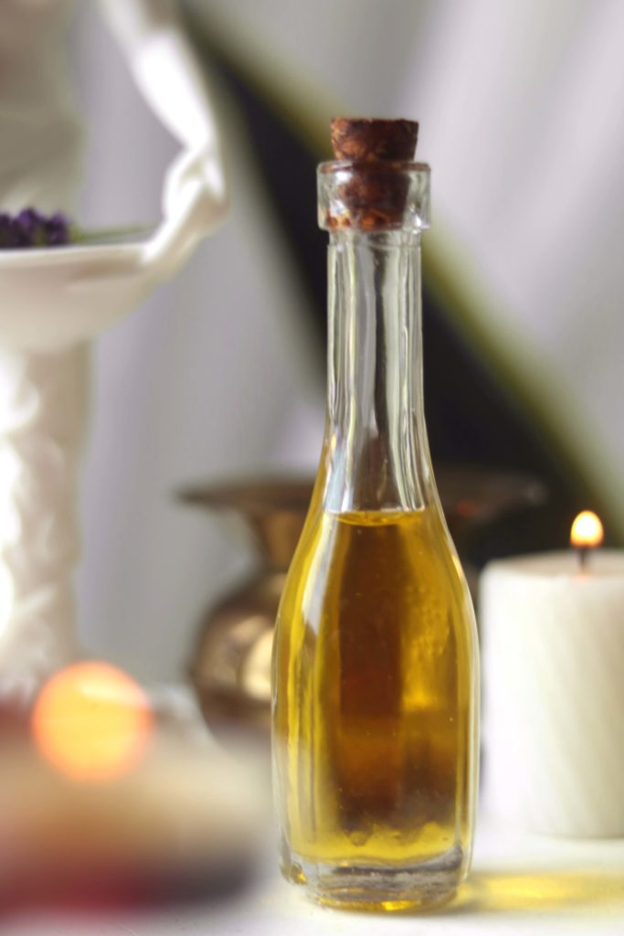 Sacred oil for household altar.