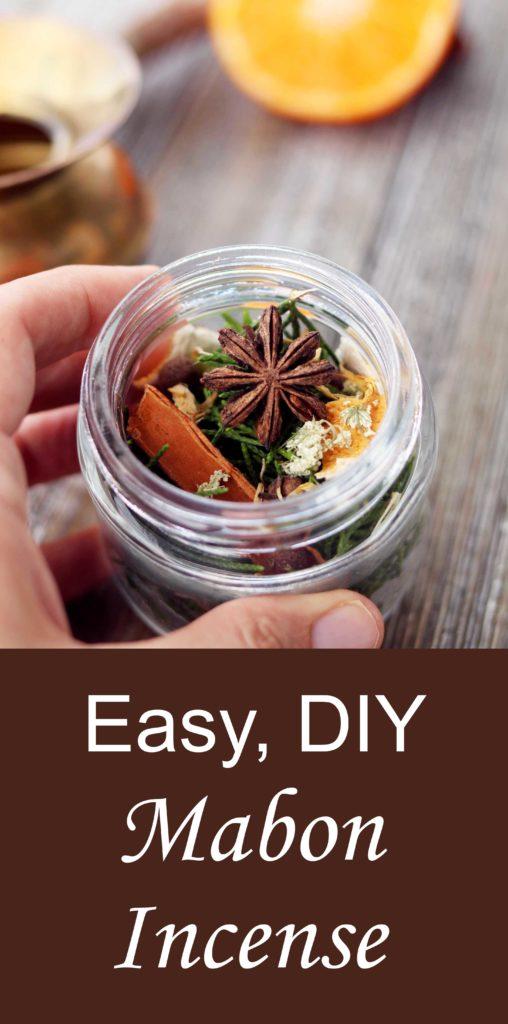 DIY mabon loose incense tutorial for autumn rituals, Sabbats and fall moon circles.