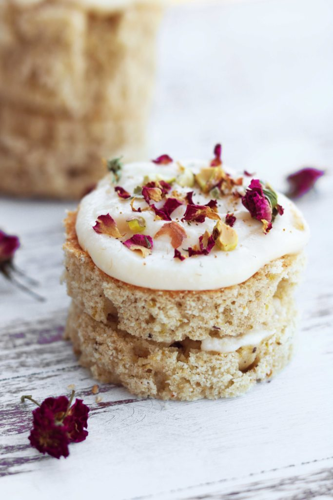 Spring Equinox Rose & Pistachio Fairy Cakes with Lemon Butter Cream Frosting.