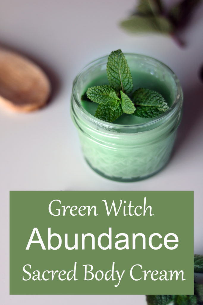 Green Witch DIY spell cream for sacred & ritual baths to attract abundance.