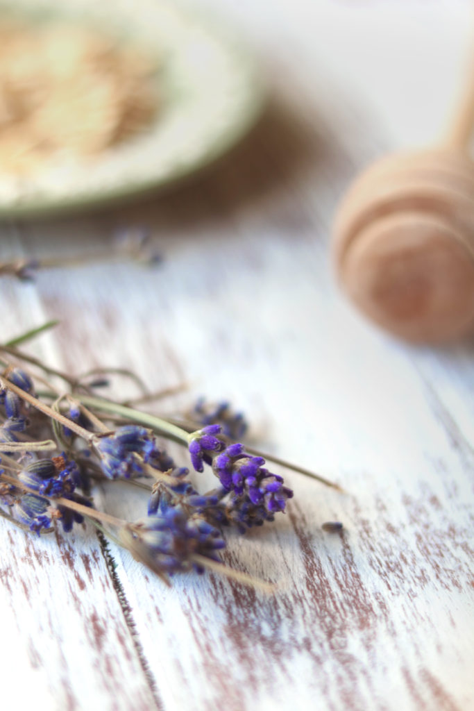 Ground lavender flowers make a lovely addition to this honey & oat milk bath.