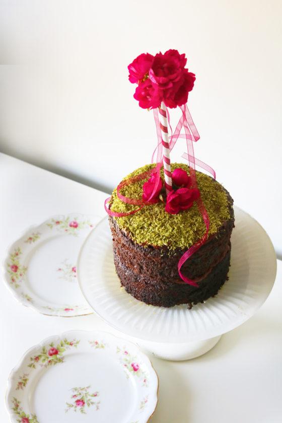 Beltane Maypole Cake with Edible Moss.